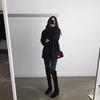 小个子袖口毛毛黑色呢子大衣2018秋冬女短款毛领毛呢外套
