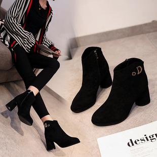 百搭冬天高跟鞋女粗跟磨砂防水台高跟短靴加绒二棉短靴女及踝靴子