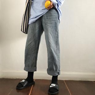 馨帮帮 2018学生工装宽松百搭高腰原宿阔腿直筒牛仔裤女