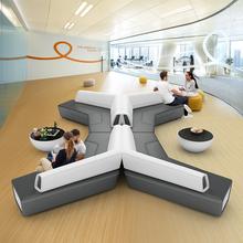 商务办公室会客区创意办公沙发茶几组合现代简约真皮三人位接待室