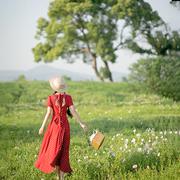 理想三旬女装夏装法式复古文艺红色波点后背蝴蝶结露背连衣裙