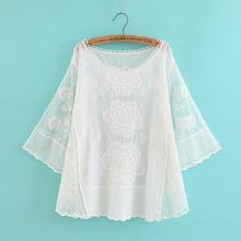蝙蝠袖上衣女春中袖绣花套衫2019夏季套头小衫网纱蕾丝衫