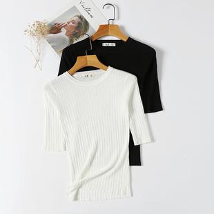 2019春季冰丝中袖针织衫女套头上衣薄款七分袖黑色打底衫