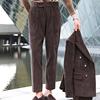 秋冬灯芯绒复古长裤男士商务高腰西裤青年百搭长裤英伦时尚绅士裤