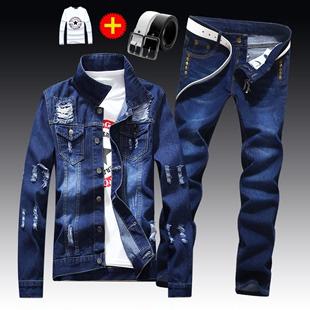 春秋季男士夹克牛仔裤子一套装帅气潮流外套衣服外衣
