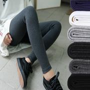 秋冬季加绒加厚纯棉灰色打底裤女薄款外穿厚款紧身莫代尔内穿秋裤