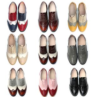 2018春布洛克女鞋真皮系带牛津鞋平底复古定制英伦风小皮鞋女