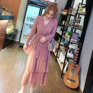 时尚甜美气质连衣裙2018秋装V领绑带网纱亮片蛋糕长裙女