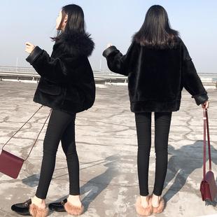 2018女装冬宽松大码毛领短外套女黑色小个子短款毛毛大衣加厚