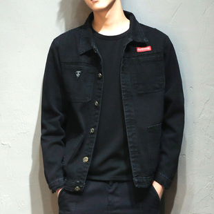 男士工装牛仔外套潮流帅气青年上衣男装加绒日系夹克