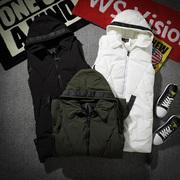 冬季青少年男士加厚夹棉中长款马甲高中学生连帽无袖背心外套