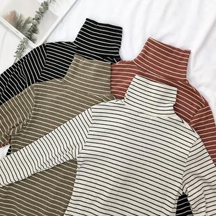黑白条纹长袖T恤男秋装男士宽松潮流上衣青少年高领打底衫冬