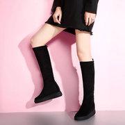 弹力长靴女2018秋冬高筒靴坡跟隐形内增高厚底松糕磨砂长筒靴