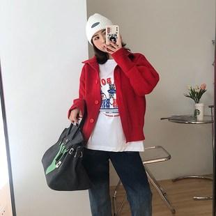 善善3哥早春红色毛衣2021年立领毛衣女短外套红色针织开衫