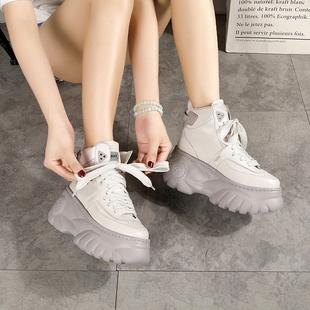 欧洲站真皮短靴厚底超高跟坡跟靴子时尚潮鞋老爹切尔西靴女鞋子