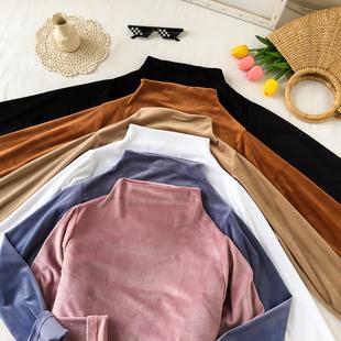 简约纯色半高领打底衫秋季女装2018复古丝绒上衣学生长袖T恤