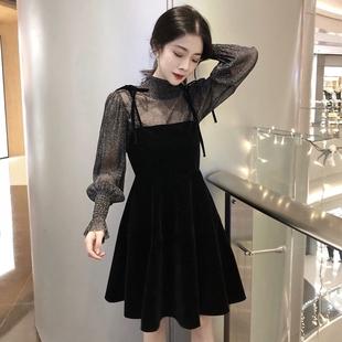 秋季长袖连衣裙女温柔风chic小黑裙网纱金丝绒吊带裙两件套装