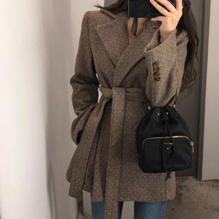 毛呢外套女2018秋冬复古系带加厚呢子小西装短款外套女装
