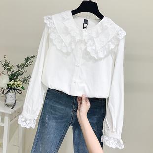 白衬衫女2018秋冬长袖宽松蕾丝娃娃领棉麻衬衣娃娃衫上衣
