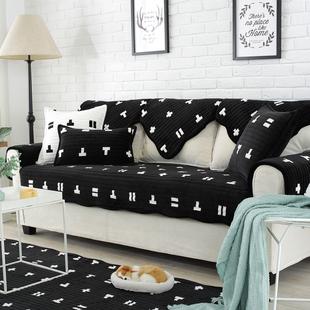 秋冬季法兰绒沙发垫套巾北欧ins风格简约黑色毛绒防滑皮布艺坐垫