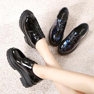 黑色漆皮松糕鞋女厚底英伦鞋单鞋加绒ins小皮鞋高跟坡跟秋冬女鞋