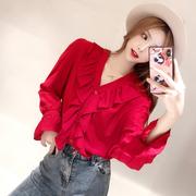 娃娃家潮流女装 2018秋装 时尚长袖 V领气质纯色衬衫