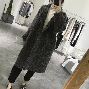 羊毛呢大衣女士冬季中长款宽松大码显瘦大款复古雪花毛呢外套