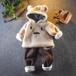 男童洋气婴儿童外穿秋冬装0一1岁2女宝宝加厚加绒卫衣两件套装3季