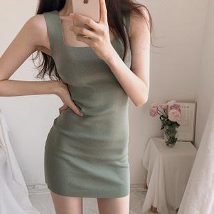 韩国夏季打底针织吊带低胸连衣裙紧身包臀显瘦性感短裙夜店女