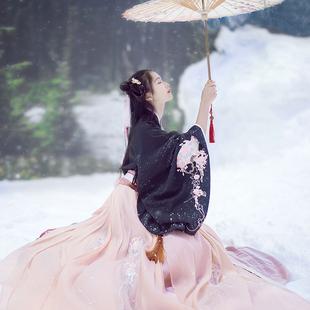 传统汉服女装大袖交领襦裙双层齐腰折扇绣花秋冬清新日常古装