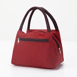 加厚防水牛津帆布便当包手提小花布包手拎小包饭盒袋女包