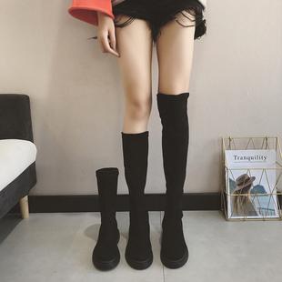 过膝靴女秋冬2018高筒瘦瘦靴平底长筒靴子女chic马丁靴女