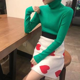 218秋冬糖果色高领打底衫女毛衣显瘦纯色针织长袖套头潮