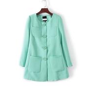 2018春秋女士简约时尚长袖风衣中长款女装百搭小西装外套