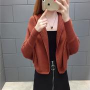 2018春秋帽子衫学生短款开衫长袖连帽针织衫毛衣女蝙蝠衫外套