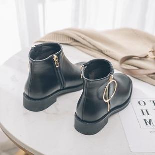 英伦风低跟短靴粗跟平底圆扣方头女裸靴复古马丁靴秋冬女靴及踝靴