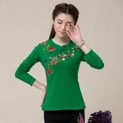 大码民族风春季女装中国风绣花上衣打底衫立领长袖t恤女 显瘦