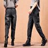 女士牛仔裤加绒加厚2018女高腰冬季加绒外穿宽松哈伦bf老爹裤