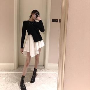 扑啦啦韩风秋装气质拼接假两件长袖连衣裙圆领女装不规则短裙
