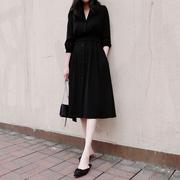 西装领黑色连衣裙女 春装2019职业中长款复古小黑裙长袖