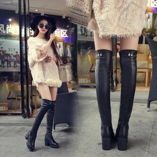 2018秋冬欧美时尚皮靴女靴加棉保暖长靴过膝高跟粗跟百搭女鞋