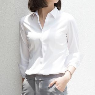 白色衬衫女长袖2019春夏职业正装免烫工作服衬衣工装