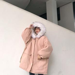 棉衣女2018冬季大毛领连帽加厚外套宽松中长款学生棉袄潮