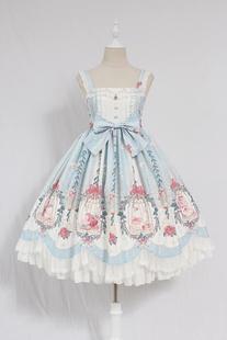 Alice girl原创 Lolita笼中梦珠链吊坠波浪荷叶边 jsk连衣裙