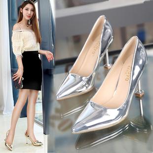 尖头银色高跟鞋猫跟中跟单鞋细跟女鞋金色婚鞋伴娘鞋小码33码色