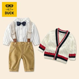 童装春秋款套装1-2-3岁男宝宝长袖洋气针织外套婴儿背带裤套装潮