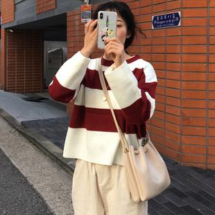 2019春季chic慵懒风撞色条纹学生百搭套头长袖毛衣上衣女