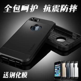 全包苹果4s 5s se手机壳硅胶防摔iPhone5手机套外壳男5s保护套黑