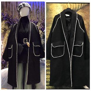 小香风毛呢中长款外套黑色睡袍式系腰带重工订珍珠欧美气质大衣女