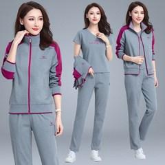 春秋季中老年人运动套装女款三件套纯棉装大码妈妈宽松运动服
